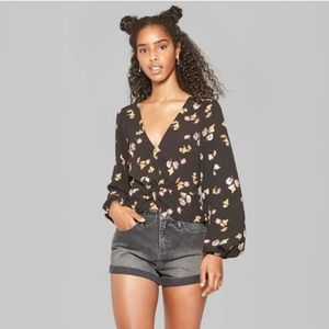 Women's Long Sleeve Twist Top Black Floral -74-195